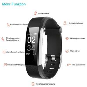 YAMAY Fitness Armband Uhr mit Pulsmesser,Wasserdicht IP67 Fitness Tracker Aktivitätstracker PLATZ 1