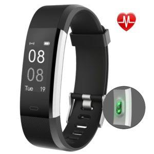 YAMAY Fitness Armband Uhr mit Pulsmesser,Wasserdicht IP67 Fitness Tracker Aktivitätstracker Pulsuhren Bluetooth PLATZ 3